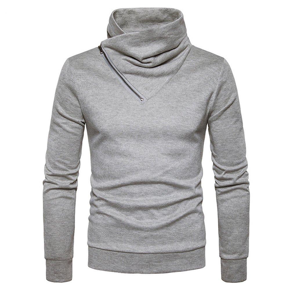 Amazon.com: Challyhope Men Stylish Slim Fit Turtleneck Slant Zipper Sweatshirt Solid Pullover: Clothing