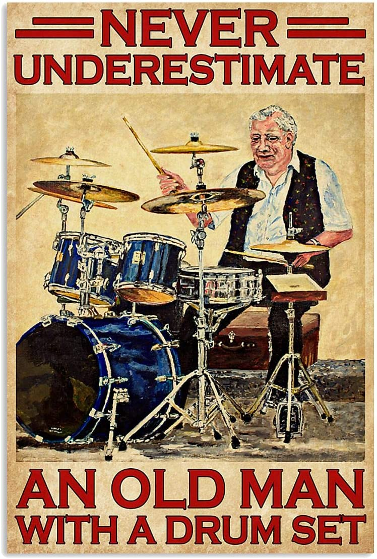 Drummer Poster Never Underestimate an Old Man with A Drum Set Wall Art Hanging Poster Painting Watercolor Living, Music Classroom, Home Decor, No Frame (White;16x24 Inches)