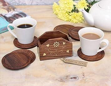6 Portavasos de madera talladas a mano & Latón INCRUSTACIONES Soporte