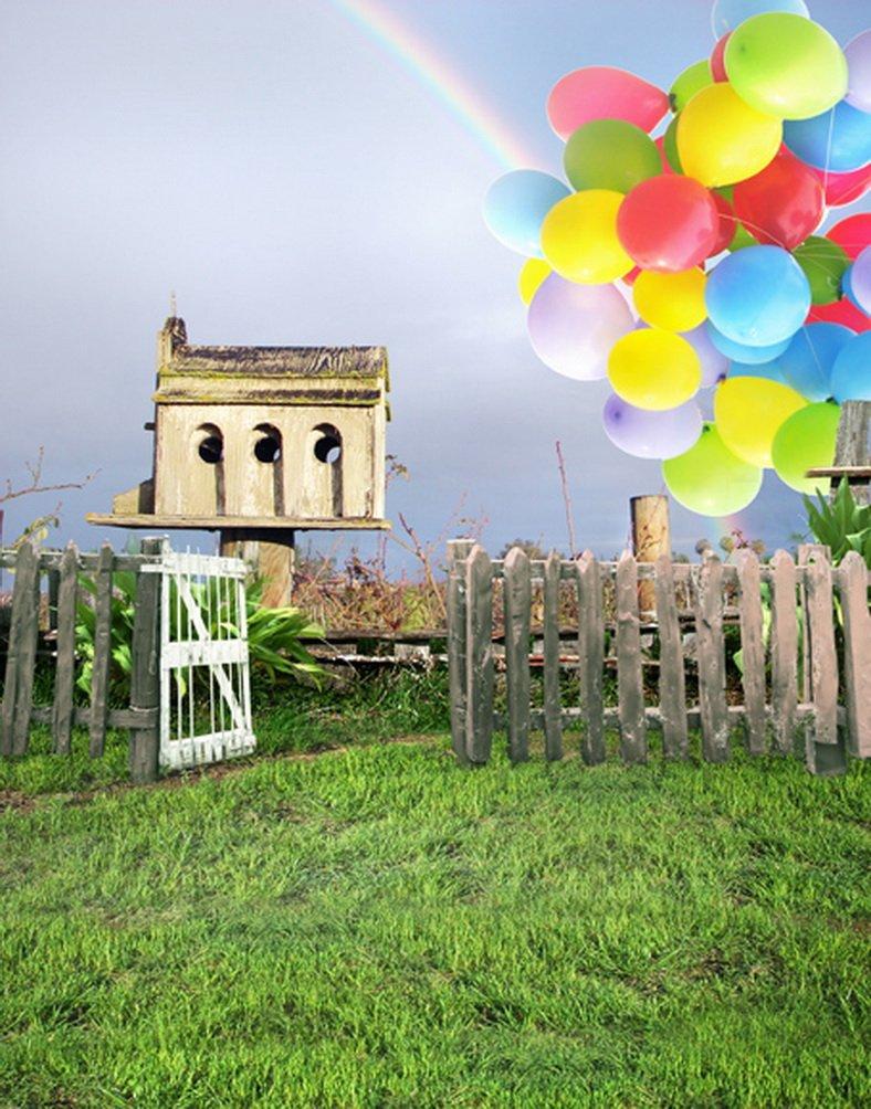 芝生 木製フェンス 写真撮影用背景 写真用小道具 スタジオ背景 5x7フィート   B01I7XFX08