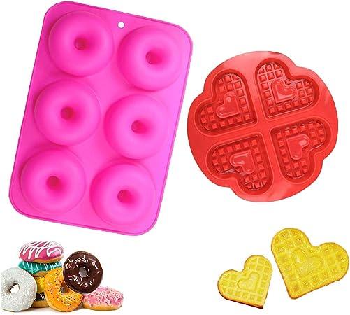 Horno Juego de 2 Molde de Silicona para Hornear Donut Microondas YIKEF Molde para Donut de Silicona Congelador Antiadherente Molde de Silicona Apto para Lavavajillas Rose Red