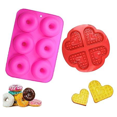 YIKEF Molde para Donut de Silicona, Juego de 2 Molde de Silicona para Hornear Donut, Antiadherente Molde de Silicona Apto para Lavavajillas, Horno, ...