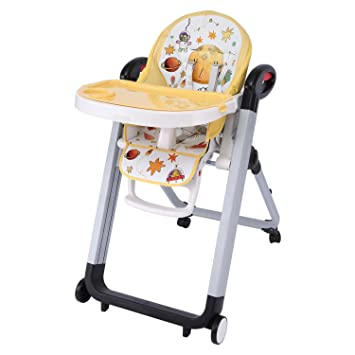 Attirant Amazon.com : Dorani Foldable Telescopic Baby High Chairs With Wheels,  Pattern, Yellow (US Stock) : Baby