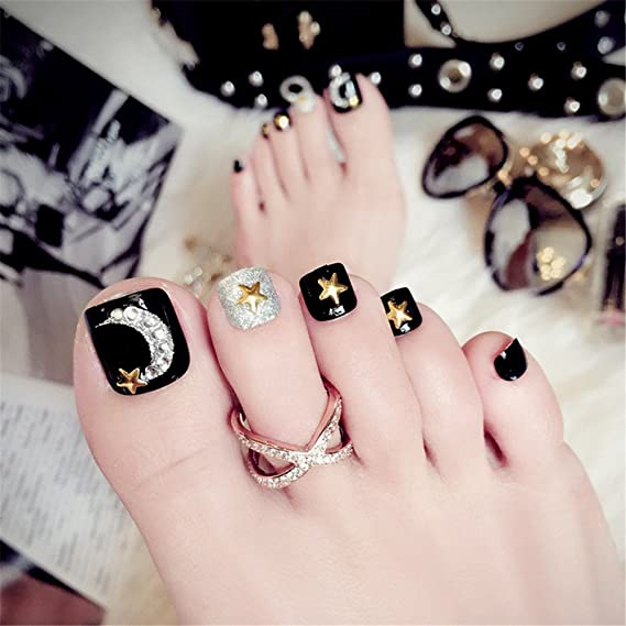 BloomingBoom 24Pcs Falsa Uña Dedo del Pie Completo Fake Nail Complets Impreso Manicura Nail Art Tips Pre Diseño Toe False Nail Punto de Uñas Postizas ...