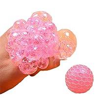 Soft Grape Mesh Ball Fidget Toys Relieve Stress Grape Balls Squeeze Grape Ball Pink Squishy Grape Ball with Water Beads (Pink)
