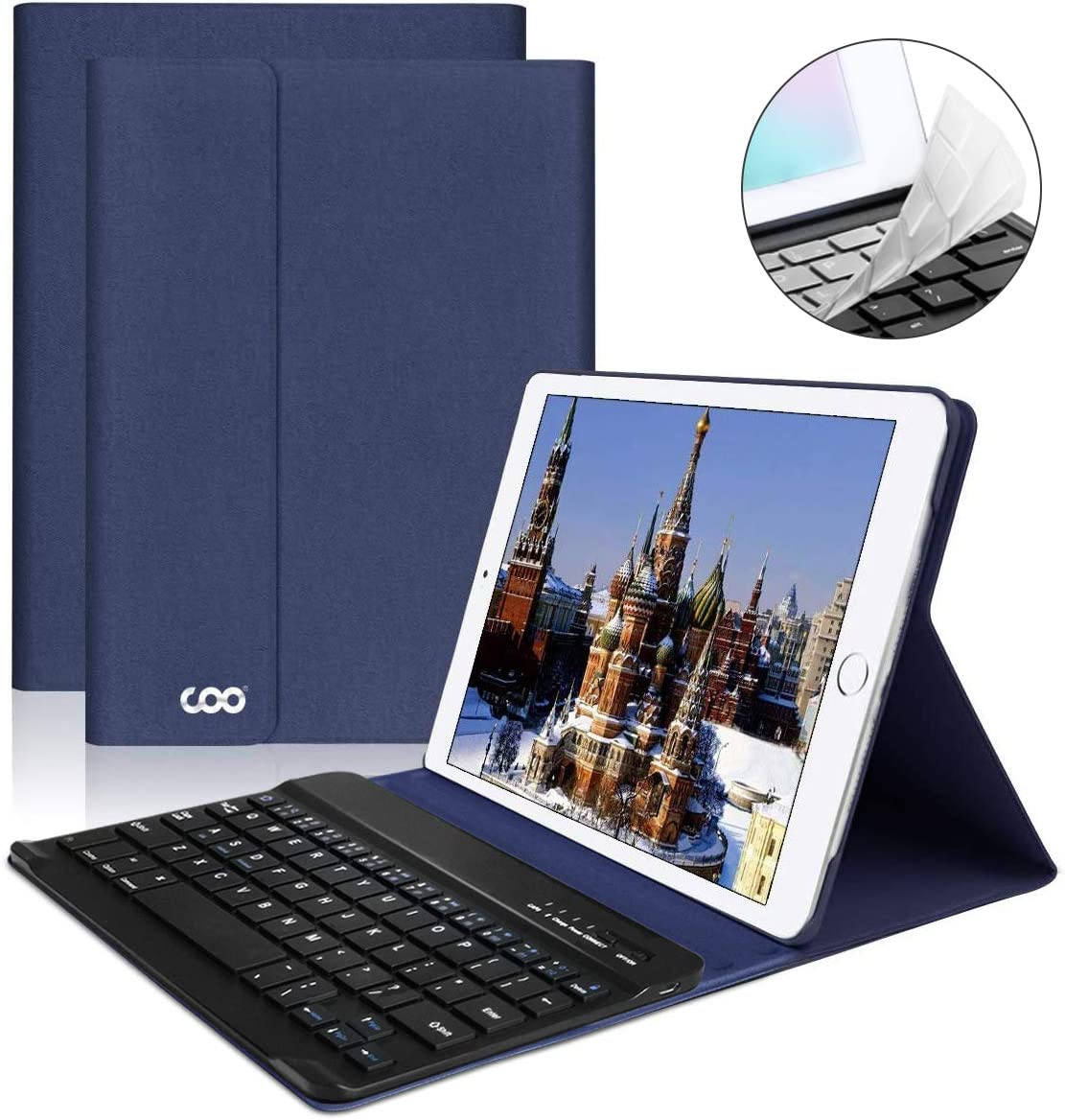 iPad Keyboard Case 9.7 for New iPad 2018 (6th Gen) - iPad Pro 2017 (5th Gen) - iPad Air 2/1 - COO Detachable Wireless Bluetooth Keyboard - Magnetic Auto Sleep/Wake (Dark Blue with Black Keyboard)