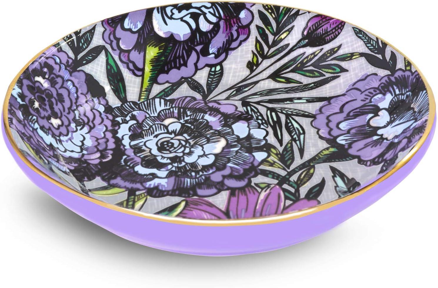 Vera Bradley Women s Ceramic Jewelry Holder Ring Dish, Lavender Meadow