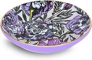 Vera Bradley Women's Purple Floral Small Ceramic Jewelry Holder Ring Dish, Lavender Meadow