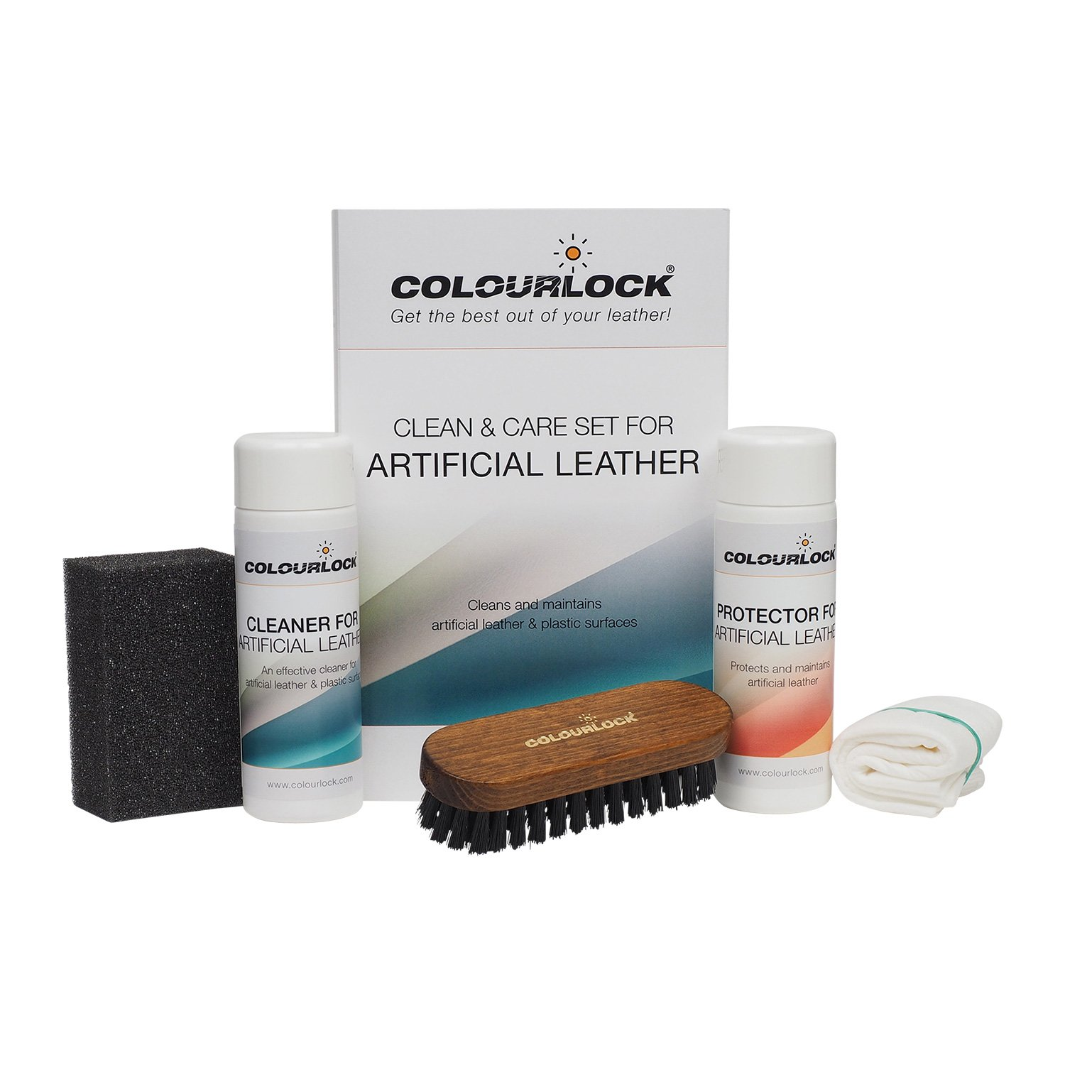 COLOURLOCK Cleaning & Conditioner kit for faux leather - ideal for cleaning & protecting car dash, interior trim and other artificial surfaces with leather graining like leatherette on furniture by Colourlock