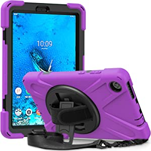 Case for Lenovo Smart Tab M8 for Kids | SIBEITU Lenovo M8 Tablet Case 8 Inch 2019 with Stand | Heavy Duty Rugged Shockproof Cover w/ 360 Rotating Stand Hand&Shoulder Strap for Lenovo Tab M8 HD Purple