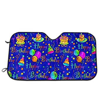 Excellent Amazon Com Happy Birthday Cake Blue Windshield Sun Shade Car Personalised Birthday Cards Veneteletsinfo