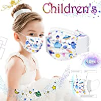 [US in Stock] 50Pcs 𝘔𝘢𝘴𝘬𝘴 3-Layer Disposable MultiPattern Masks Mouth Scarf, Half Face Mouth Covers, Windproof Sunscreen, Ear-Loop Bandana Ideal for Kids Everyday Use (Space Saucer, C)