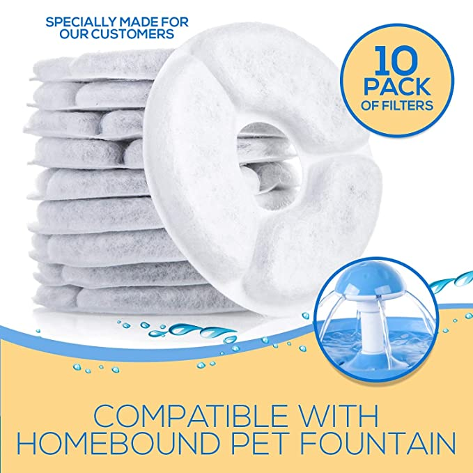 Amazon.com : Homebound Pet Products - Cat Fountain Replacement Water Filters - Pack of 10 Activated Carbon Filters - Removes Chlorine, Bacteria, ...