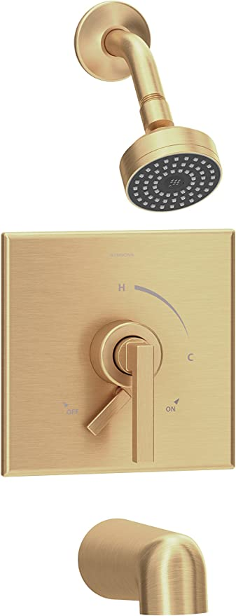 Symmons S 3602 Bbz 1 5 Trm Duro Single Handle 1 Spray Tub And Shower Faucet Trim In Brushed Bronze 1 5 Gpm Valve Not Included