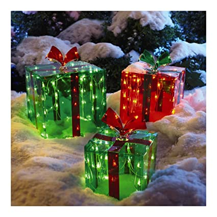 3 lighted gift boxes christmas decoration yard decor 150 lights indoor outdoor buyers choice - Outdoor Christmas Decorations Gift Boxes