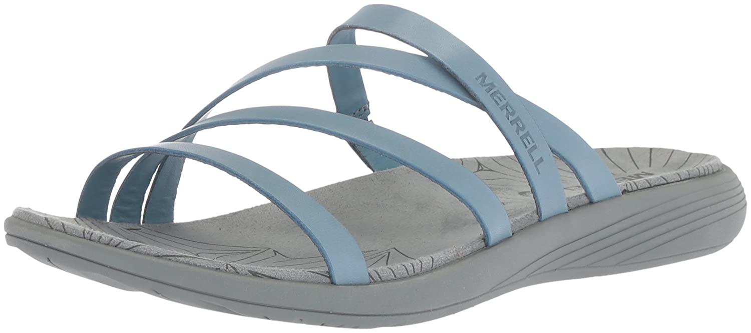 bluee Heaven Merrell Women's Duskair Seaway Slide LTR Flat Sandals