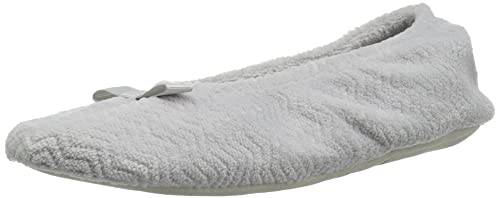 0c5ada193e85 ISOTONER Women s Chevron Microterry Ballerina House Slipper with Moisture  Wicking and Fabric Sole for Comfort