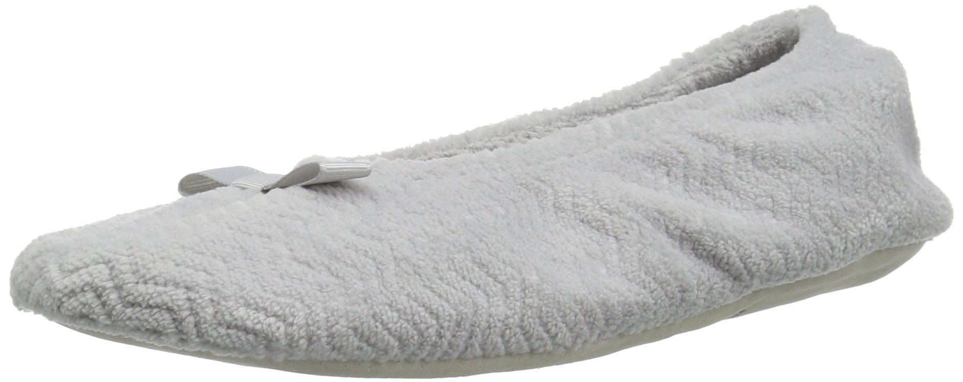 ISOTONER Women's Chevron Microterry Ballerina House Slipper with Moisture Wicking and Fabric Sole for Comfort, Light Grey, Small/5-6 M US