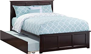 Atlantic Furniture Platform Bed with Matching Footboard and Twin Size Urban Trundle, Full, Espresso