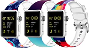 Moretek Colorful band Compatible for Apple Watch 38mm 42mm 40mm 44mm,Soft Silicone Sport Replacement Strap for iWatch Series 5 4 3 2 1, Nike+, Edition Women Men (Pack 2, 42/44mm)