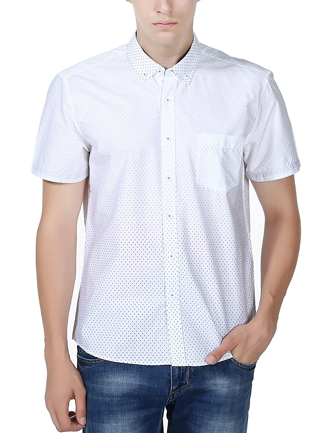 XI PENG Men's Casual Dress Cotton Polka Dots Short Sleeve Fitted ...