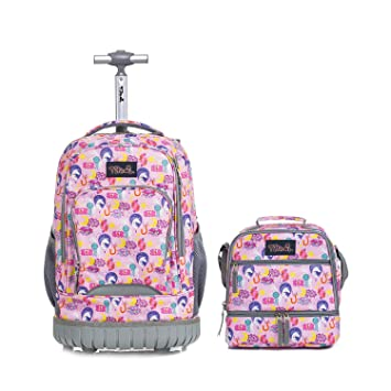 3c2f3acdd5d8 Tilami Rolling Backpack 18 inch with Lunch Bag Wheeled Laptop Backpack  Waterproof School College Student Travel Trip Boys and Girls, Unicorn