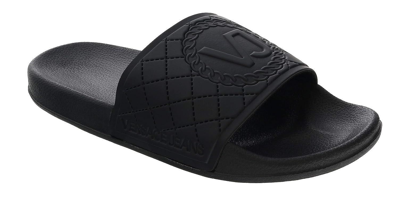 2c06786ea99 Amazon.com: Versace Black Versace Jeans Logo Slide/Sandal for Womens ...