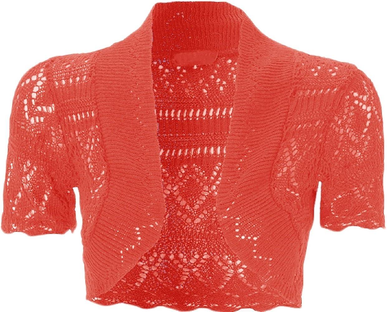 Bolero lavorato a maglia da bambina e ragazza taglia 2-13/anni coprispalle a maniche corte a maglia