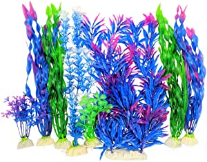 Otterly Pets Plastic Plants for Fish Tank Decorations Large Artificial Aquarium Decor and Accessories - 8-Pack