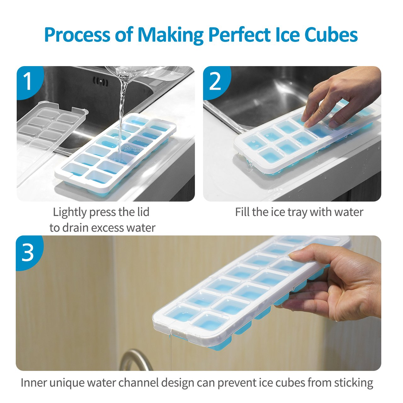 OMorc Ice Cube Trays 4 Pack [Upgraded Version], Easy-Release Silicone and Flexible 14-Ice Trays with Unique Removable Lid, Make Larger Ice Cubes, BPA Free, Stackable Durable and Dishwasher Safe by OMORC (Image #5)