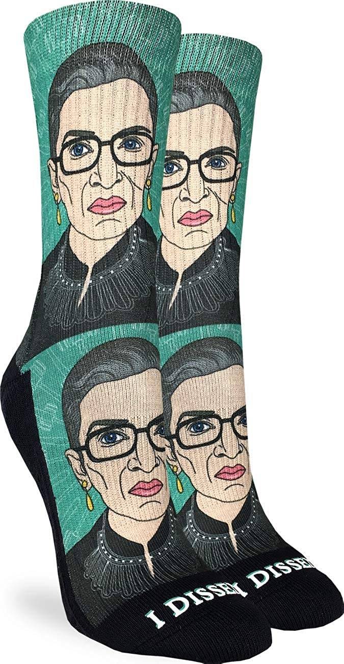 Good Luck Sock Women's Ruth Bader Ginsburg Socks - Green, Adult Shoe Size 5-9: Clothing