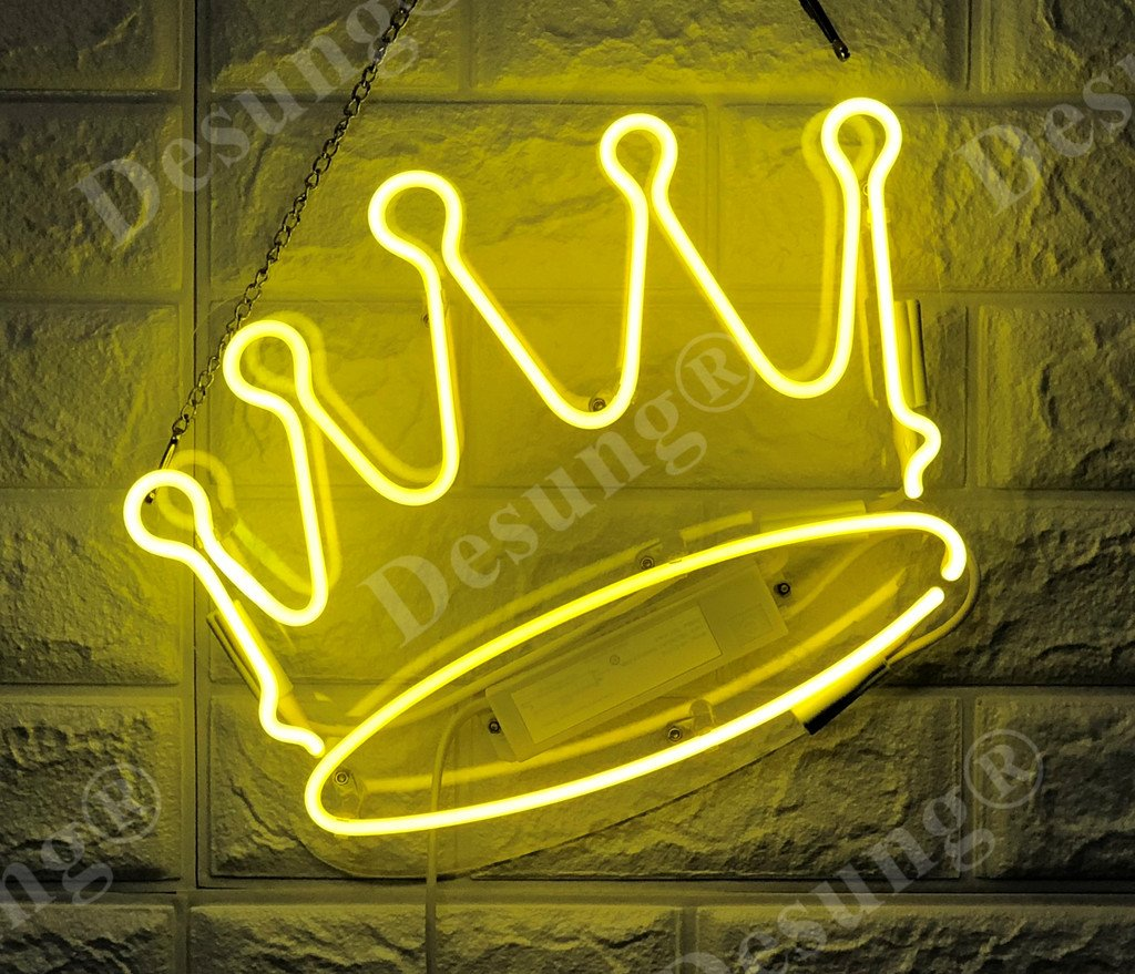 Desung Brand New 14'' Imperial Crown Gift Lamp Decorated Acrylic Panel Handmade Custom Design Neon Sign Light WD22
