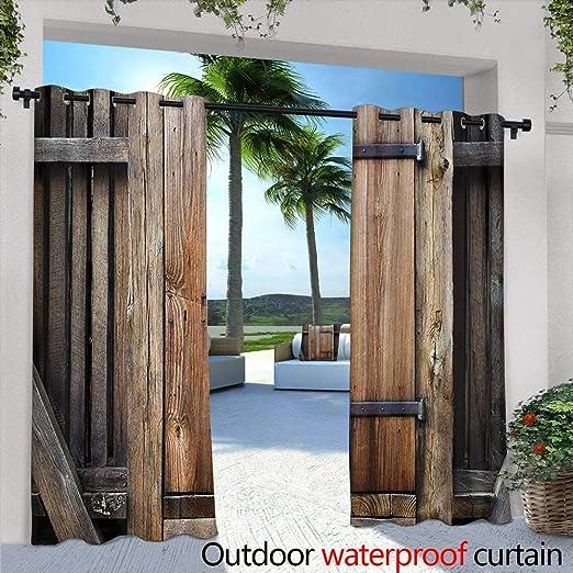 Tim1Beve Cortinas de Exterior de Madera rústica Envejecida para Porche, Playa y Patio, Color marrón y Naranja: Amazon.es: Jardín