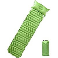 PaceEarth Sleeping Pad Camping Mat w/ Attached Detachable Pillow (Green)