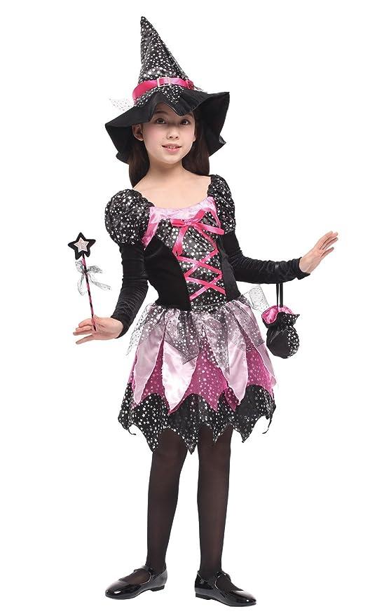 GIFT TOWER Déguisement Petite Sorcière Fée Fille Halloween Costume Cosplay  Robe Tutu Enfant Baquette Magique (4,6 ans), Taille M (110,120 cm)