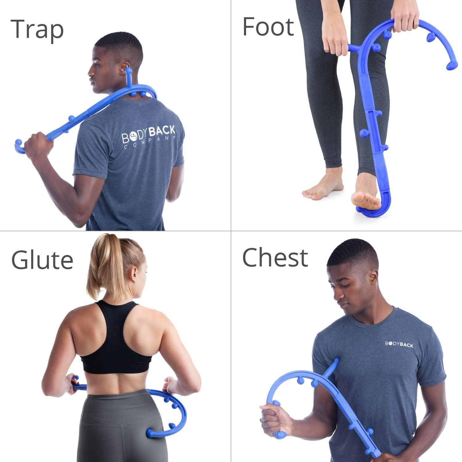 Body Back Buddy Cane Portable Self Massage Stick with Usage Poster - Back, Neck & Shoulder Trigger Point Therapy Travel Massager by Body Back Company (Blue): Health & Personal Care
