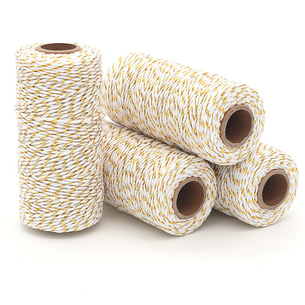 White WINGONEER® Durable Cotton Bakers Twine Heavy Duty Cotton Crafts Twine 2 mm for Packing Twine String Decorations Golden WINGONEER 4pcs 100M Wine String