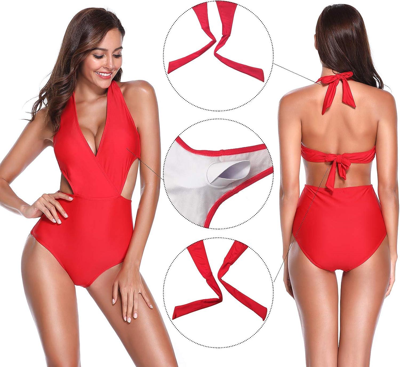 SHEKINI Womens One Piece Deep V-Neck Bikinis Swimsuits Backless Bathing Suit
