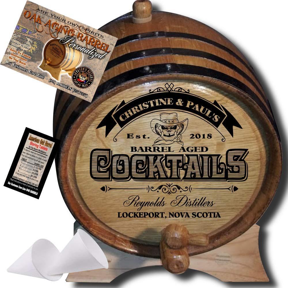 Personalized American Oak Cocktail Aging Barrel (108) - Custom Engraved Barrel From Skeeter's Reserve Outlaw Gear - MADE BY American Oak Barrel - (Natural Oak, Black Hoops, 3 Liter)