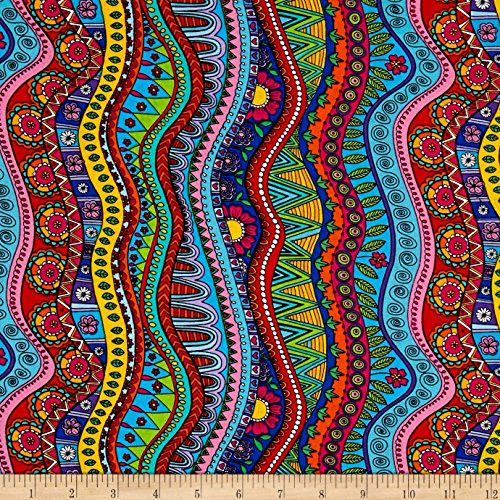 Timeless Treasures Color Me Doodle Stripe Coloring Multi Fabric By The Yard