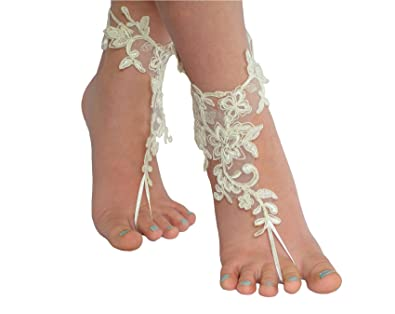 514af0e7c4f0 Ivory Barefoot Sandals Beach Wedding Shoes Wedding Accessories (6 US)