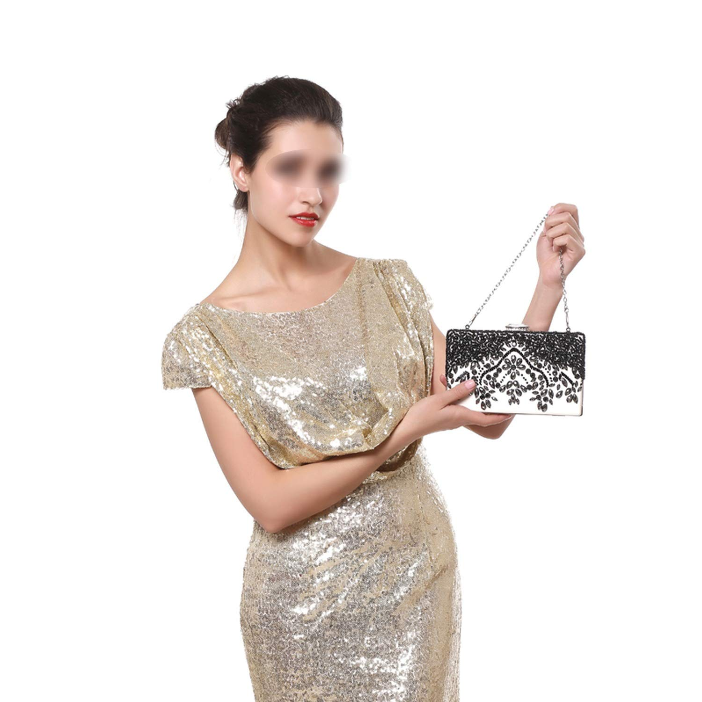 Pu Women Messenger Chain Shoulder Handbags Beaded Handmade Style Metal Diamonds Evening Bags Leather Fashion Purse Bags,Ym1009Purple