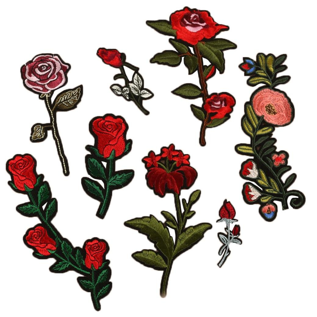 Hot Sale! AMA(TM) 8PCS DIY Embroidered Roses and Flowers Floral Collar Iron On Applique Sew Patch Sticker Badge Garment Decoration Craft (A) Amaping
