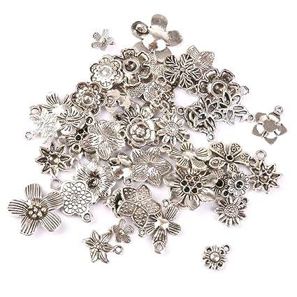 Buy generic 50pcs tibetan silver flowers charms pendant beads for generic 50pcs tibetan silver flowers charms pendant beads for jewellery making aloadofball Gallery