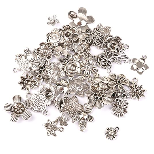 Tibetian Silver Lead Free Pewter Charms//Flower