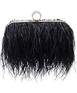 Amazon.com: Komii - Bolso de mano para mujer con plumas de ...