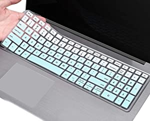 Keyboard Skin Cover for Dell Vostro 15 7590 / Dell Inspiron 15 5593 5584 5598 5508 5501 / Dell Inspiron 15 7000 7590 7591 7501, Dell Inspiron 15 5000 Kkeyboard Cover, Ombre Mint Green