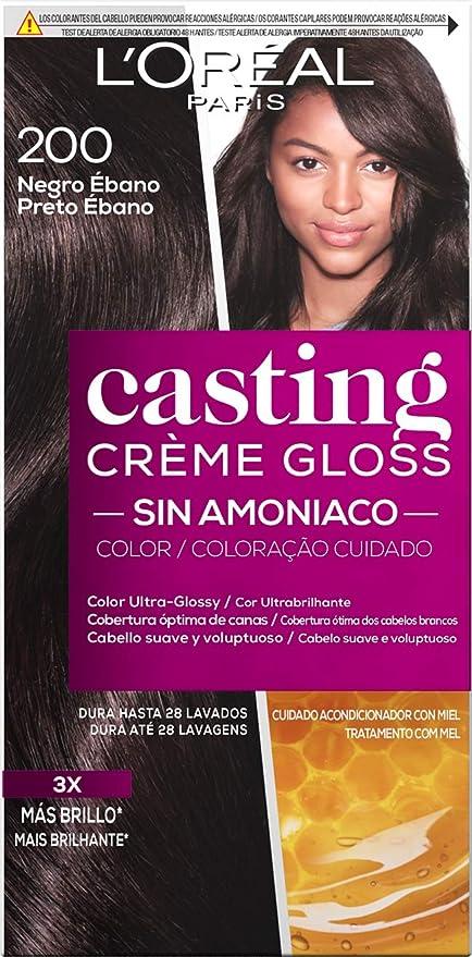 LOréal Paris Casting Crème Gloss Coloración Sin Amoniaco, Tono: 200 Negro Ébano