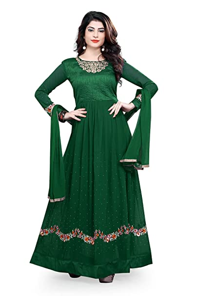 35c242bf48f MULTIRETAIL Women s Faux Georgette Embroidered Semi-Stitched Anarkali  Salwar Suit with Dupatta and Bottom Fabric (Dark Green