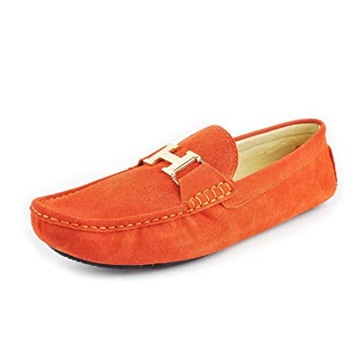 Mens Leather Orange Slip-On Casual Buckle Loafer Driving Mens Car Shoes Moc Shoes